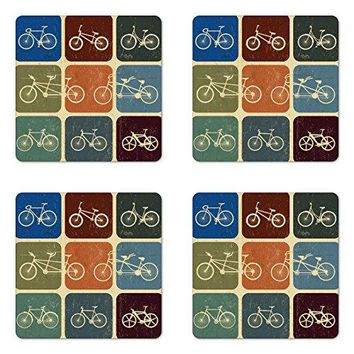 Lunarable Vintage Coaster Set of Four Retro Image Collage of Bicycle Bikes in a Row with Abstract Pattern Colored Art Square Hardboard Gloss Coasters for Drinks Multicolor