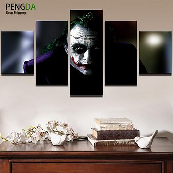 Modern Canvas Abstract Painting Wall Art Modular Pictures Frame For Room Home Decor 5 Panel Batman Joker Movie Oil Poster PENGDA