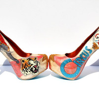 Hand-Painted Circus Ringmaster Crystal Heels