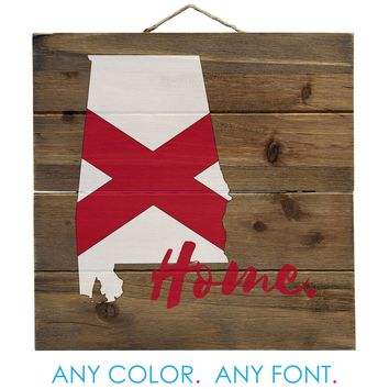 "Alabama Flag Home Crimson Bama Distressed Pallet Wood Wall Sign - Decorative - 10"" Square"