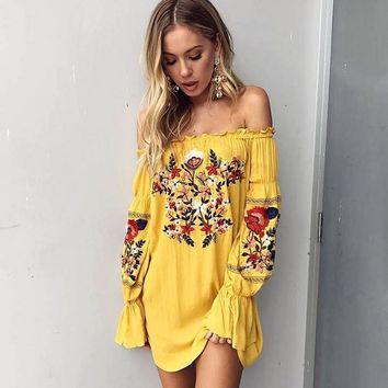 2017 Summer Dress Women  Pin Up Yellow Loose Bohemian Dresses Hippie Long Sleeve Off Shoulder Dress Tunic Robe Femme