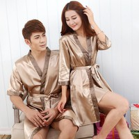 EI088 Sexy Couples Bathrobes Large Size Summer Satin Bath Robe Sleepwear Silk Home Clothing For Women and Men