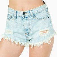 ACID WASH CUTOFF HI-RISE DENIM SHORTS