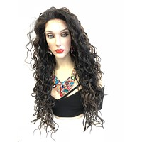 Black Balayage Long Swiss lace front wig | Wavy Layered Hair| Forever Mine 518