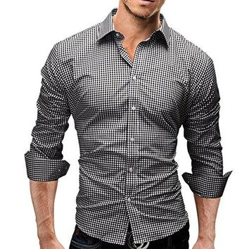 Camisunny Fashion Designer Shirts for Men Long Sleeve Slim Plaid Casual Formal Button Down