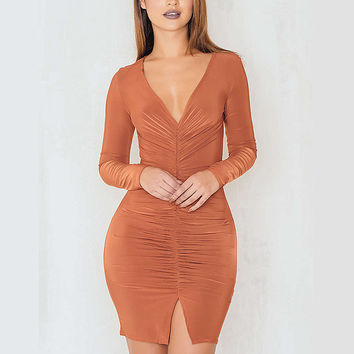 New Autumn Women Bodycon Sexy Wraps Dress Deep V Neck Slim Party Club Pencil Mini Dress Ladies Long Sleeve Folds Split Vestidos