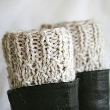 Boot cuffs in cream, womens boot socks, boot sock, boot topper, lace boot socks, crochet boot cuff, womens boot cuffs, knit boot cuff