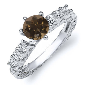 1.10 Ct Round Brown Smoky Quartz 925 Sterling Silver Ring