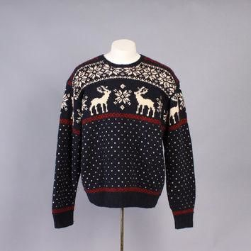 Vintage POLO SWEATER / 1990s Men's Ralph Lauren Reindeer Snowflake Fair Isle Jumper L