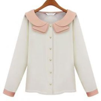 Debutante Dilemma Contrast Color Collar Blouse in Ivory/Pink | Sincerely Sweet Boutique