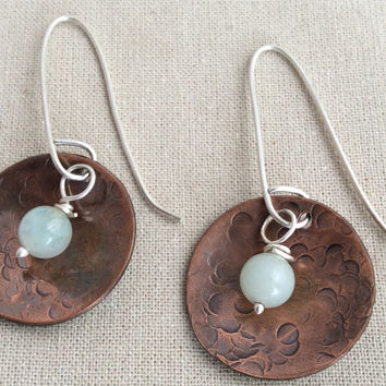 Copper Earrings Hammered Dome With Hand Wrapped Blue Bead