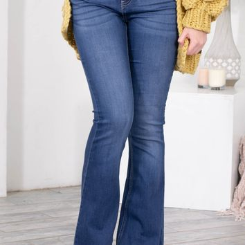 Wide Flare Medium Wash Denim