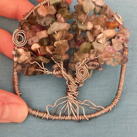 Wire Art Tree of Life / Wire Wrapped Sun Catcher / Chip Gemstone Beads