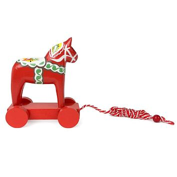 Swedish Themed Wooden Red Dala Horse Pull Toy