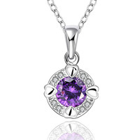 Purple Passion Love Zirconia Silver Neckalce