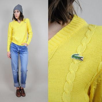 LACOSTE vtg 80's cableknit SWEATER bold yellow v-neck preppy Tennis ivy ? Small