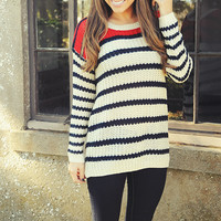Want You To Stay Sweater: Ivory/Navy