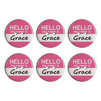 Grace Hello My Name Is Plastic Resin Button Set of 6