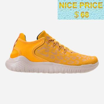 New WOMENS NIKE FREE RN 2018 WILD SUEDE RUNNING SHOES AQ0562 700 Yellow Ochre Oil Grey University Gold sneaker