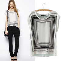 New Hot Fashion Womens Casual Blouse Short Sleeve Shirt  Foever21 Like T shirt Summer Blouse Tops = 4720143364