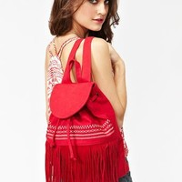 Mojave Fringe Backpack - Red in  Accessories at Nasty Gal