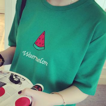 Watermelon Printed Green T Shirt