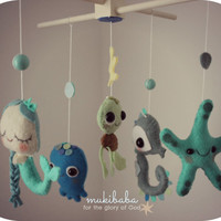 Baby Mobile - Ocean Sea Mobile - Nursery Crib Mobile - Mermaid, Starfish, Octopus, Turtle, Seahorse