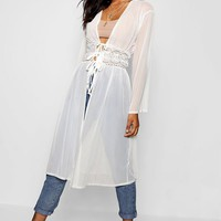Mesh Kimono With Lace Pannel | Boohoo