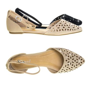 Series31 Nude Beige Open Shank D'Orsay, Perforated Cutout, Rhinestone Embellished Pump Flat