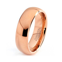 Mens Tungsten Carbide Wedding Band Ring 7mm 14k Rose Gold Plated Domed High Polished 5-15 Half Sizes Traditional Comfort Fit Custom Engraved