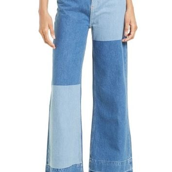Free People The Wideleg High Waist Patchwork Jeans | Nordstrom