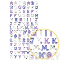 Purple Alphabet ABCs Shaped Puffy Fancy Typography Stickers for Scrapbooking