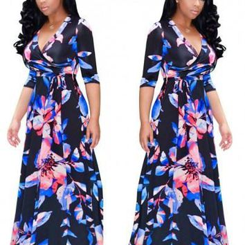 Black Flowers Print Sashes Cleavage Half Sleeve A-line Plus Size Maxi Dress