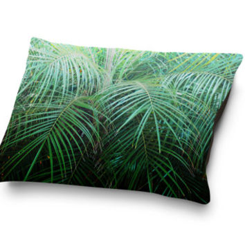 Jungle Palms 2 - Pet Bed, Beach Style Dog & Cat Pet Bedding Accent, Green Palm Tree Fronds Tropical Style Pet Pillow Bed. Small Medium Large