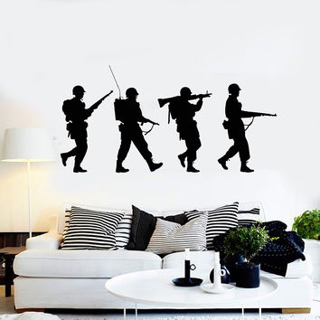 Vinyl Wall Decal Silhouette Soldiers War Military Art Boys Room Stickers Mural Unique Gift (ig5026)