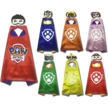 PEAPJ 2017 New Funny PAW Patrol Superhero Cape and Mask Set For kids Party Boys Girls Gifts 2PCS Set for 3-10Years