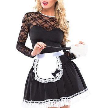 3 PC Exotic French Maid Costume @ Amiclubwear costume Online Store,sexy costume,women's costume,christmas costumes,adult christmas costumes,santa claus costumes,fancy dress costumes,halloween costumes,halloween costume ideas,pirate costume,dance costume,