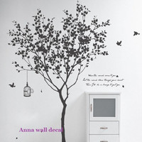 Tree with birdVinyl Wall Decal Sticker Nature by annaandnana