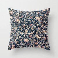 Navy Garden - floral doodle pattern in cream, dark red & blue Throw Pillow by micklyn | Society6