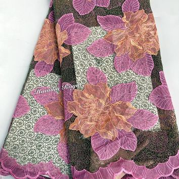 small eyelet background Guipure lace Big floral embroidery African cord lace fabric with stones 5 yards per piece