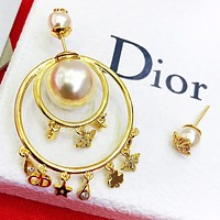 Dior Fashion new letter pearl diamond asymmetry long earring women accessory Golden