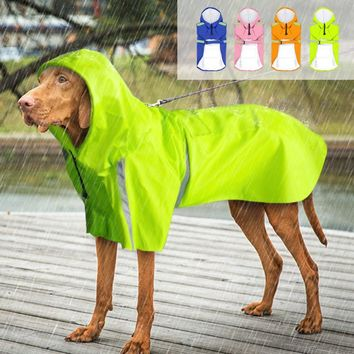 Reflective Dog Raincoat Waterproof Rain Jacket Poncho With Leash Hole Pocket For Small Medium Large Pets Green Blue Orange Pink