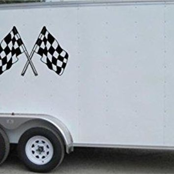 Checkered Flag Racing Trailer Decals Stickers Murals Set Auto Car Truck