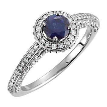 14kt White Gold Blue Sapphire & 5/8 CTW Diamond Halo Engagement Ring