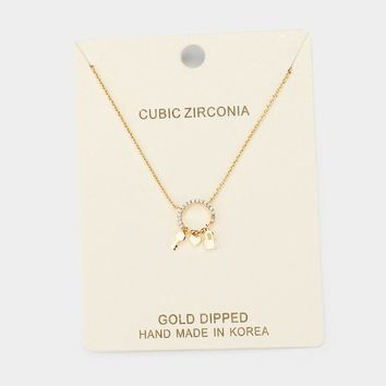 Gold Dipped Cubic Zirconia Key Heart Pendant Necklace