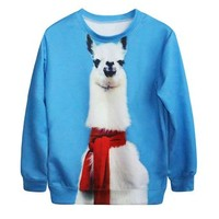 Ninimour- Fashion Women's Print Cute Sweatshirt Autumn Pullover (alpaca)