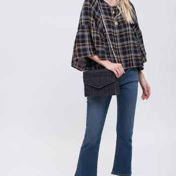 Women's Plaid Blouse with Ruffled Sleeves