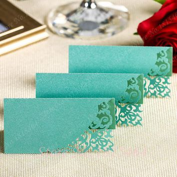50pcs Hot Sale New Laser Cut Damask Name Place Cards Table Cards Wedding Sweets Favours Free Shipping