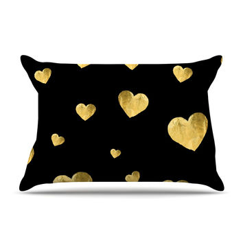 "Robin Dickinson ""Floating Hearts"" Gold Black Pillow Case"