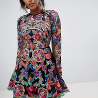 A Star Is Born Embroidered Mini Skater Dress with Open Back at asos.com
